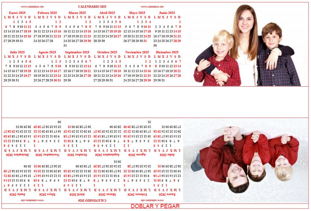 Calendario personalizado bianual gratis listo para recortar y pegar