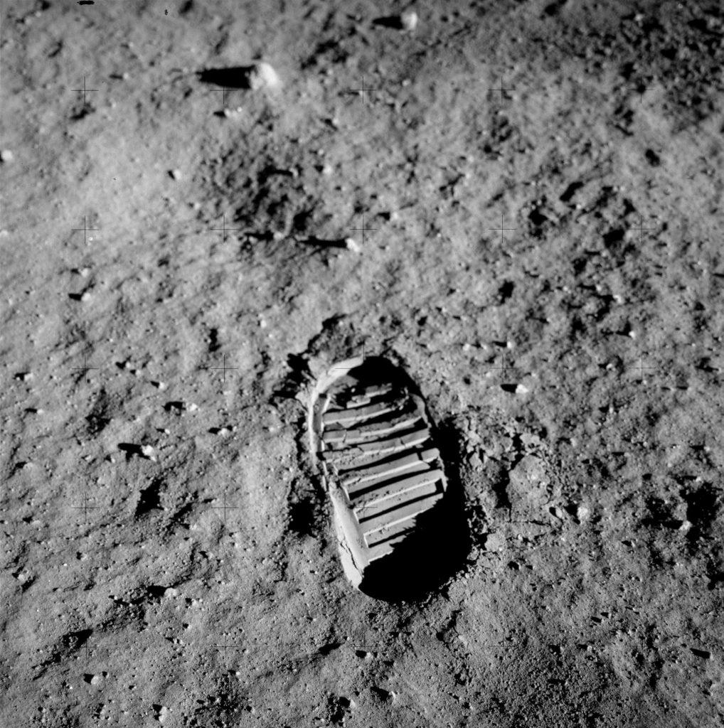 Huella de Aldrin en la superficie lunar