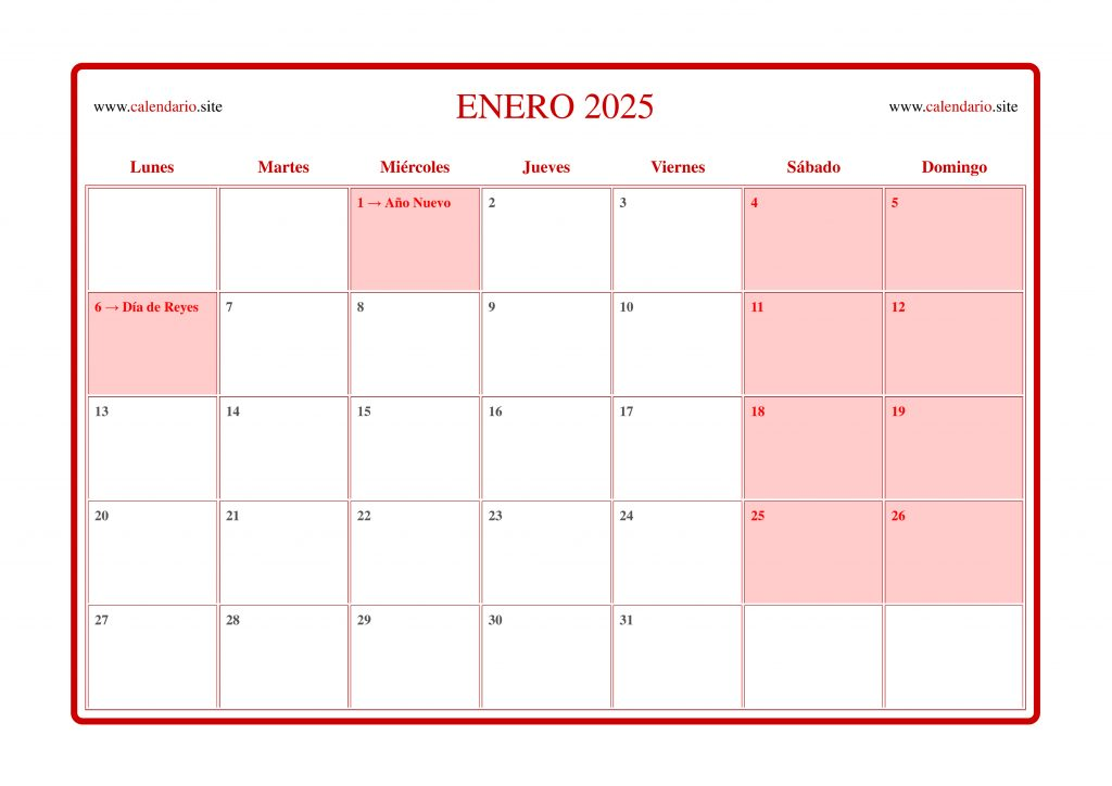 Calendario agenda con todos los meses del año