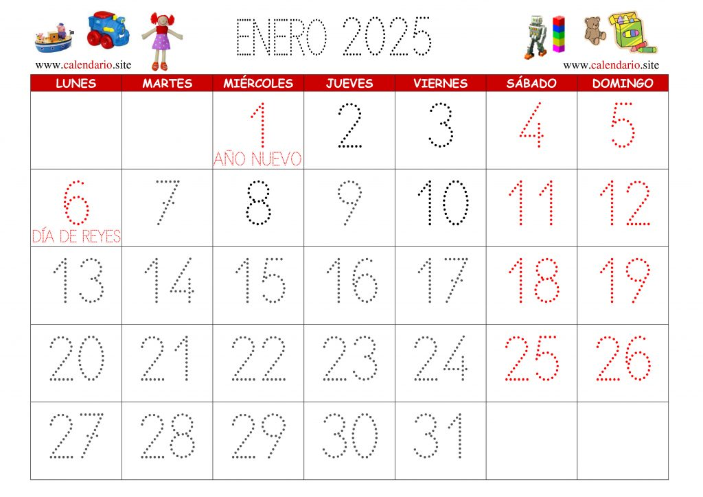 Calendario infantil prediseñado listo para ser imprimidos