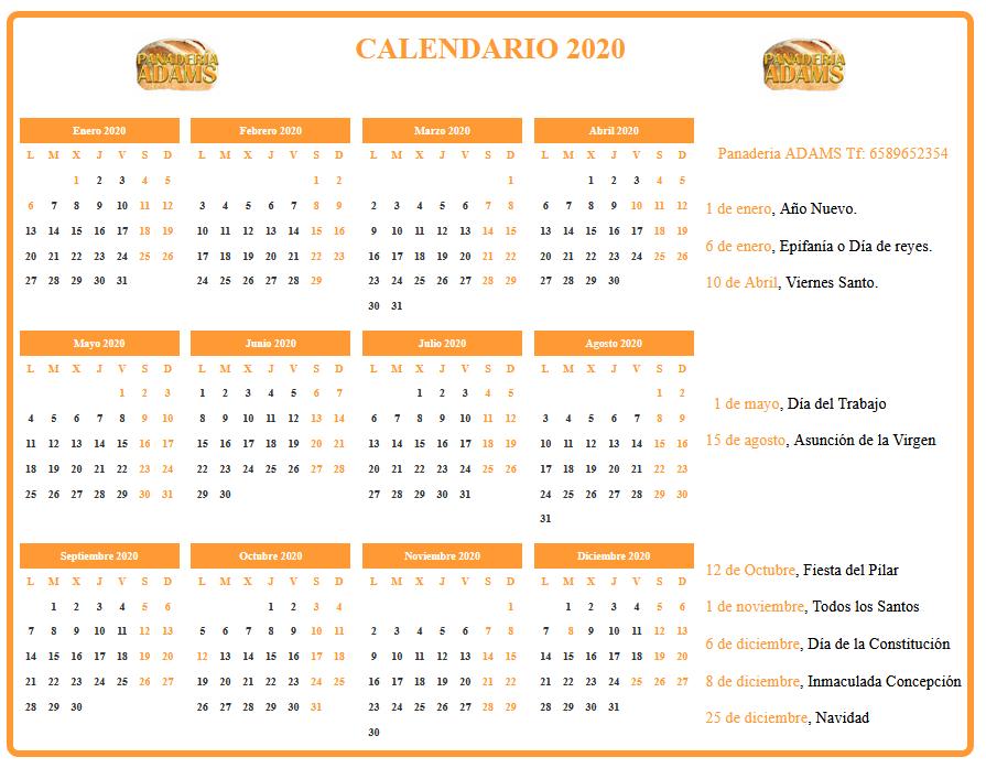 Calendario formato horizontal personalizado con color y logotipo elegidos por el usuario
